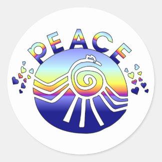 Universo de la paz etiquetas redondas