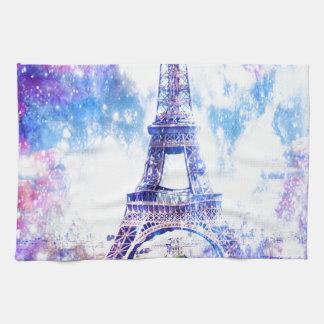 Universo París del arco iris Toallas De Cocina