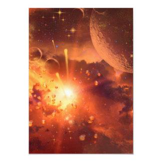 """Universo rojo impresionante invitación 5"""" x 7"""""""