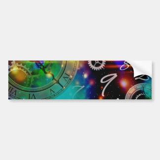universo s del reloj de tiempo del fondo etiqueta de parachoque