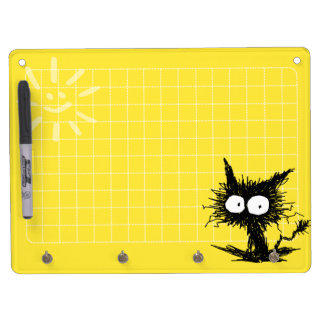 Unkempt Kitten Grid Yellow Dry Erase Board With Keychain Holder