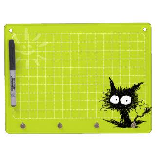 Unkempt Kitten Grid Yellow Green Dry Erase Board With Keychain Holder