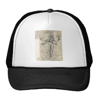Unknown drawing of androgyn corpus with two heads trucker hat