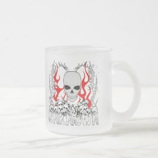 Unknown Stack of Skulls With Red Flames Frosted Glass Coffee Mug