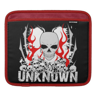 Unknown Stack of Skulls With Red Flames iPad Sleeves