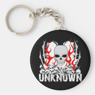 Unknown Stack of Skulls With Red Flames Basic Round Button Keychain