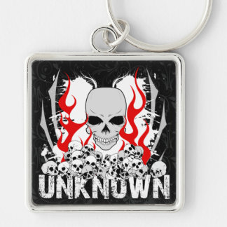 Unknown Stack of Skulls With Red Flames Silver-Colored Square Keychain