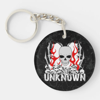 Unknown Stack of Skulls With Red Flames Double-Sided Round Acrylic Keychain