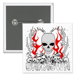 Unknown Stack of Skulls With Red Flames Pinback Button