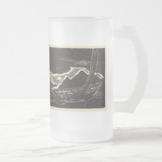 Unknown Waters Frosted Glass Beer Mug