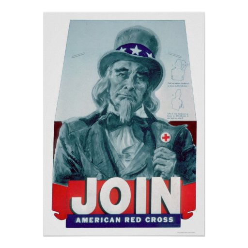 Unlce Sam lleva un botón de la Cruz Roja (US00291) Posters
