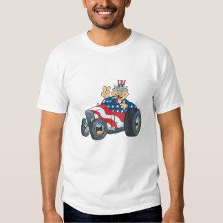 Unle Sam Cartoon Hotrod T-Shirt