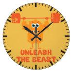 Unleash The Beast Gym Motivation Large Clock
