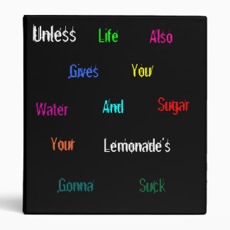 Unless Life Also Gives You Water And Sugar... 3 Ring Binder