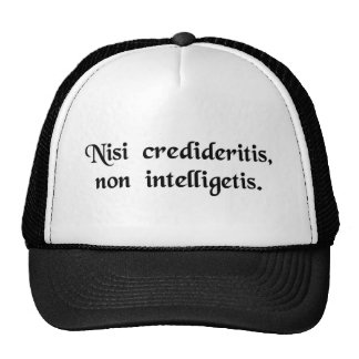 Unless you will have believed, you will not..... mesh hats