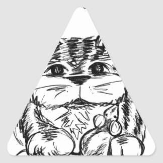 Unlikely Friends Cat and Mouse Triangle Sticker