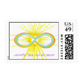 Unlimited peace, love and freedom postage