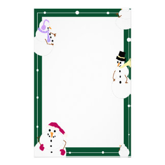 Unlined Christmas Snowmen Holiday Stationery