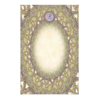 Unlined Monogram Vintage Gold Lace p1 Stationery