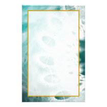 Unlined White Lace on Teal Stationery
