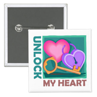 Unlock my heart: Love key for Valentine's Day Button