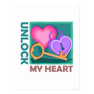 Unlock my heart: Love key for Valentine's Day Postcard