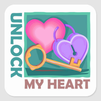Unlock my heart: Love key for Valentine's Day Square Sticker