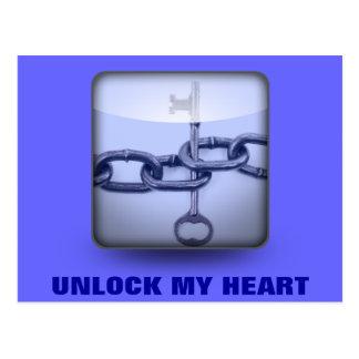 UNLOCK MY HEART POST CARD
