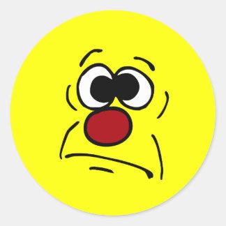 Unlucky Smiley Face Grumpey Classic Round Sticker