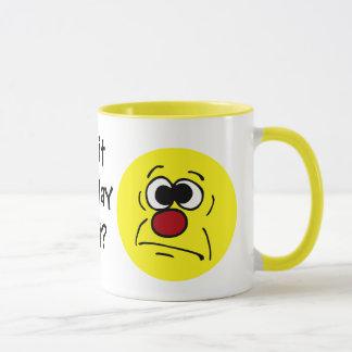 Unlucky Smiley Face Grumpey Mug
