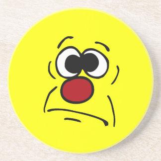 Unlucky Smiley Face Grumpey Sandstone Coaster