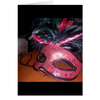 Unmasked blank greeting card: masquerade mask card
