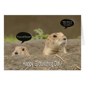 Uno al año, día de la marmota tarjeta de felicitación