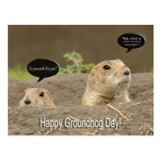 Uno al año, día de la marmota tarjeta postal