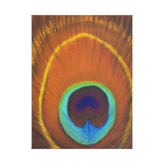 uno de la pluma pintada a mano original del pavo r impresión en lienzo estirada