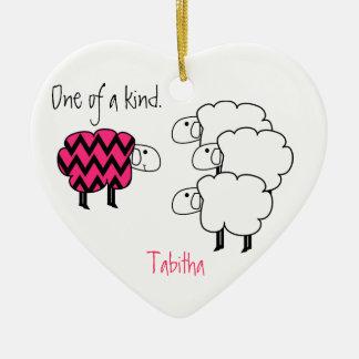 Uno de una oveja personalizada clase de Chevron de Ornaments Para Arbol De Navidad
