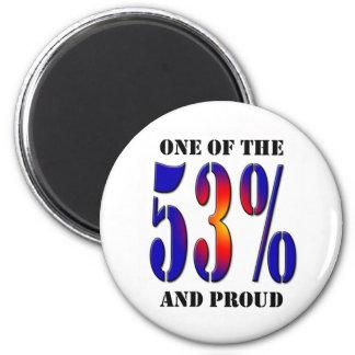Uno del 53 por ciento y del contribuyente orgullos imán redondo 5 cm