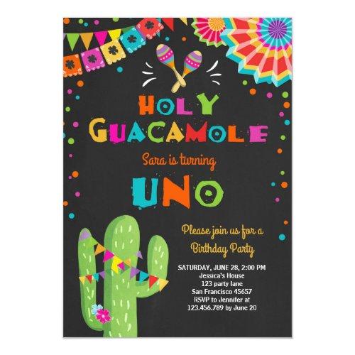 Uno Fiesta First Birthday invitation Cactus Party