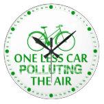 Uno menos coche que contamina el aire reloj de pared