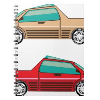 Uno mismo del vector del coche del concepto que spiral notebook