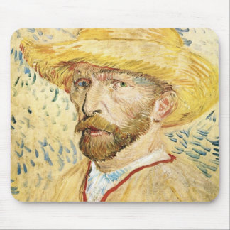 Uno mismo-Portait con el gorra de paja de Vincent  Alfombrilla De Ratones