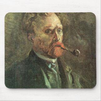 Uno mismo-Portait con el tubo de Vincent van Gogh Tapete De Raton
