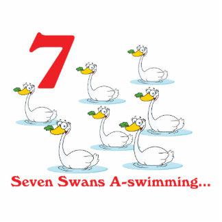 uno-natación de 12 cisnes de los días siete llavero fotográfico