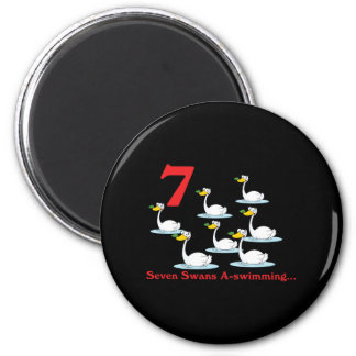 uno-natación de 12 cisnes de los días siete imán de frigorifico