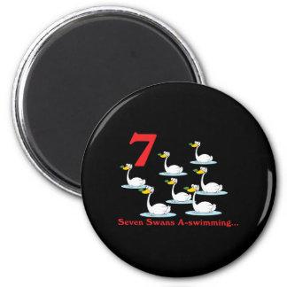 uno-natación de 12 cisnes de los días siete imán redondo 5 cm