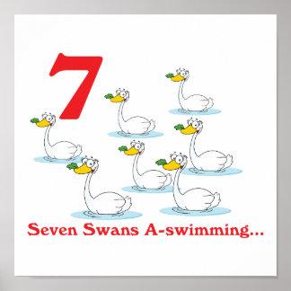 uno-natación de 12 cisnes de los días siete impresiones