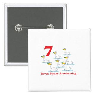 uno-natación de 12 cisnes de los días siete pin cuadrado