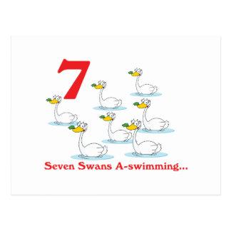 uno-natación de 12 cisnes de los días siete postales