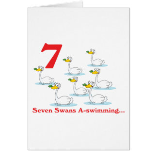 uno-natación de 12 cisnes de los días siete tarjeta de felicitación