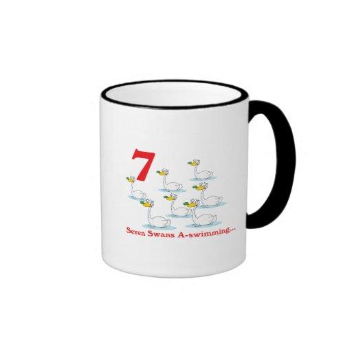 uno-natación de 12 cisnes de los días siete taza